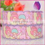 pink color 25mm width cartoon pattern satin ribbon with lacework