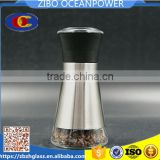 Clear Glass spice grinder/pepper mill with stainless steel coat plastic lid