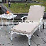 White Outdoor/Poolside/Garden/Patio Cast Aluminum Chaise Lounges with tea table(LD-058)