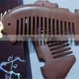Fine-tooth with Anti-static for Detangling Curly Sea Horse Hair and Beard Comb Pocket Wood Comb