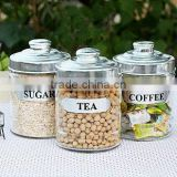 bell shape wholesale glass candy /sugar/coffee jar with metal lids or plastic lids