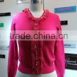 2014 Ladies knitted sweater,cardigan with manual nail bead