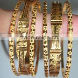 Set of 6 GOLD PLATED INDIAN BRACELET BANGLES KADA #D23