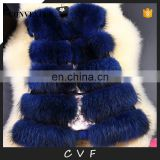 Royal blue whole fur fashion luxury raccoon fur vest clothing