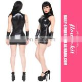 Sale High Neck Tight Leather Club Dress Women Hot Sexy Wet Look Dress