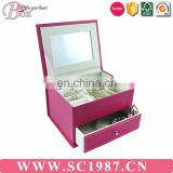 Magic pink drawer jewelry box with miror