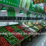 HOT SALE!!! Supermarket Acry Vegetable and Fruit Display Shelves Stand with Stainless Steel Guard Rail for Sale