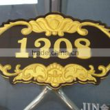 zinc alloy metal word projected nameplate trademark logo label sticker for guest room