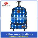 Durable Canvas Trolley backpack with full linings & single handle and Skating wheels for Teens