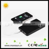Hot selling patent portable solar panel battery charger 6v 6000mA dual outputs with flashlight