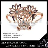 2015 fashion jewelry lovely flower and butterfly shape bangle for sweet girl platting rose gold material bangles charms