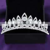 Women's head jewelry white gold plated crystal imperial crown bridal hair accessories