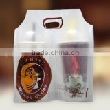 Plastic manufacture wholesale cup holder plastic bag/clear disposable cup holder plastic bag/ plastic coffee up holder