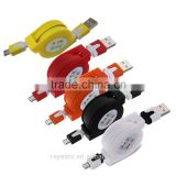 REYON 5 Multicolor Retractable Micro USB Flat Charger Sync Data Cable Cord for Android Phones
