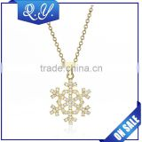 Factory Direct Wholesale 18k Gold Snow Shape necklace jewelry Fashion Zircon Diamond Pendant Necklace For Gift