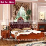 Wood frame structure and leather finish double bed with carving for bedroom furniture sets B-268
