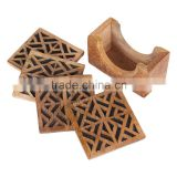 Store Indya Set of 4 Wooden Hand carved Coasters for Tea Coffee Beer with geometric motifs barware