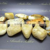 Polished Natural Baltic white Amber stones, Amber raw stone white color