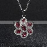 natural crystal pendant flower of life pendant thick platinum plated 925 silver necklace