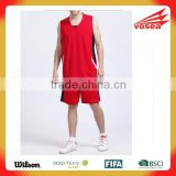 Hot sale High Quality pure color quick dry reversible cool basketball jersey red color