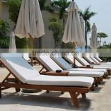 Wooden sun lounger chairs with cushion