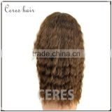 sexy & wild long curly wavy hair wig slight brown 100 percent human hair wigs with front lace cap
