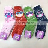 Owl Jacquard Chunky Thermal Fleece Lined Fur Slipper Socks Acrylic Socks With Anti-skid Silicon Dots Bottom