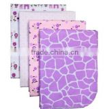 4 Piece 100% Cotton Flannel Receiving Baby Blankets--Purple Giraffe