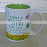 Inner Green Glazed Stoneware Promotional Mug for Brithday Gift