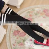 sexy white stripes black and fleshcolor school girl tights