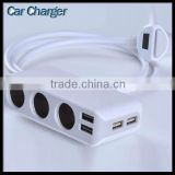 3-Socket Cigarette Lighter Outlet Splitter Video Phone Pad Camera 4-Port Usb Charger