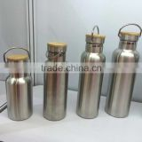 kangfute hot type stainless steel mirror water bottle with bamboo lid 600ML