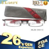 Italian design metal frame with leather temple luxury reading glassses with matching bag