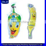 banana/mango shape bag juice filling and sealing small size semi packing machine with date printing
