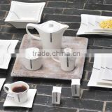 Antique style white dinner set,china manufacturer square shape heat resistance crockery ceramic dinner set