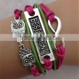 MYLOVE Owl & Love Infinity Rose red Charm Braided Leather Wax Cord Bracelet Personalized Fashion Jewelry ML10073