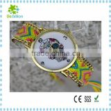 2015 Newest fashion woman Geneva watch ,manufacturer braided colorful band woman watch , skull woman watch
