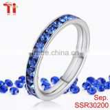 cubic zirconia crystal mobile ring fashion ring finger rings payal design photos womens girls silver color blue rhinestone bands