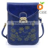 Women's Retro Flower Pattern bag Leather Crossbody Shoulder Wallet Bag Cell Phone Pouch for smartphone