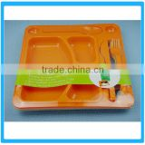 Divided Kids Dinner Plate ,Dinner Divided Plate For Restaurant ,Fast Food Tray WIth Fork And Knife