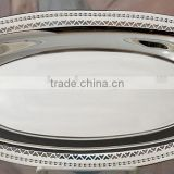 Silver plated Oval dish tray with handles , Decorative food tray, Airlines tray, Arabic metal trays, Party trays, Wedding tray