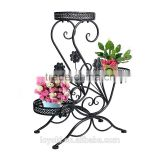 3-Tiered Scroll Decorative Metal Garden Patio Standing Plant Flower Pot Rack Display Shelf Holds wrought iron flower stand