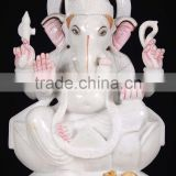 Regional Feature antique stone crarving white marble statue of hindu god ganesh