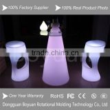 Glowing high top funnel shape glass cocktail table with led light