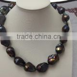 AAA 11-12mm black baroque freshwater pearl necklace