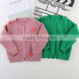 High fashion knitwear 100 handmade baby sweater with applique 3D flowers