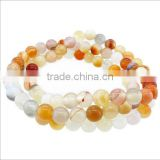 3 layers natural agate stone beads bracelets women lucky gemstone beads stretch bracelets for birthday gifts 2016