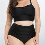 Black Bikinis Plus Size With Ruched Bikini Top And High Waisted Bottom, Plus Size Bikinis Swimwear With Movable Cup No Underwires