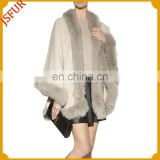 OEM brands women wholesale tongxiang cashmere and fox fur trim cape