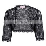 Belle Poque Womens Ladies Wedding Bridal Bridesmaid 3/4 Sleeve Black Lace Shrug Bolero BP000319-1